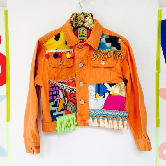 JUMP 5-6 Years Stonewashed Denim Jacket Upcycled with African fabric Pom Pom Trim Unisex A