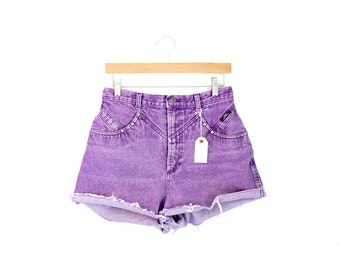 "Waist 30"" High Waisted Vintage Purple Denim Shorts"