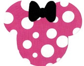 Minnie Mouse applique with bow - iron on DIY pink and white