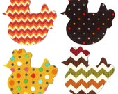 4 Iron on bird chicken appliques DIY