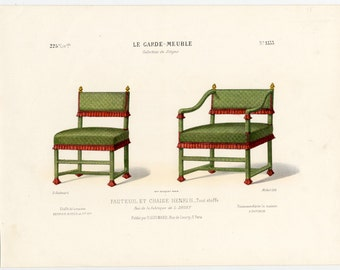 French Interior Design Print of Chairs by Guilmard Paris c1866. Original Antique Hand colored Lithograph of Henry 2nd Chairs. Decorative Art