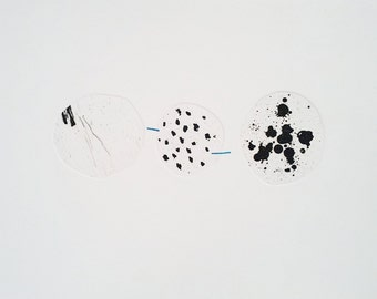 Original Circle Etching Black, White and Blue. Etching and Collage. Abstract Original Printmaking. Minimalist Print. Circle Drawing.