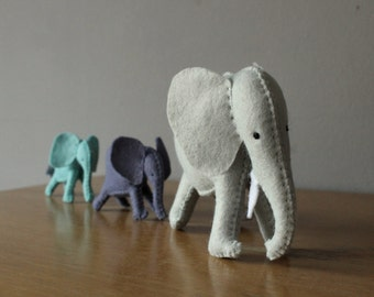 Mother Elephant with Calves Felt Plushes Ready to Ship