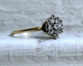 Vintage 10K Yellow Gold Gold Diamond Cluster Engagement Ring - 0.37ct.