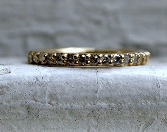 RESERVED - Lovely Thin Vintage 18K Yellow Gold Diamond Eternity Wedding Band - 0.66ct.
