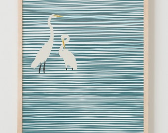 Fine Art Print.  Herons at the Beach.  November 6, 2014.