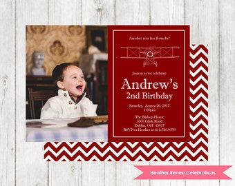 Printable Airplane Birthday Invitation | Vintage Plane Birthday Party Invite | Chevron Airplane Digital File