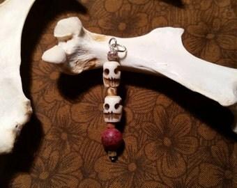 bone pendant. bone skull beads. lepidolite. skull bone bead.