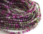 "Pink, Rose and Green Agate 6mm Round Beads - 15"" Strand"