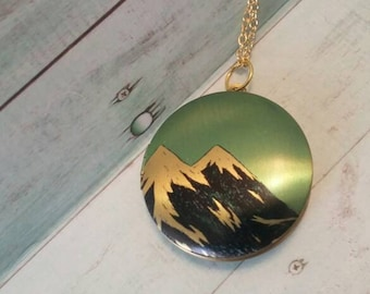 Mountain Locket. Gold chain. Outdoor Jewerly. Mountain Inspired. Twin Peaks Locket.