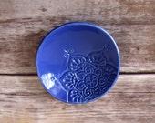Handmade Ring Dish, Indigo Jewelry Holder.  Handmade ceramic dish, stamped with boho star pattern.  Glazed in rich indigo, ready to ship!