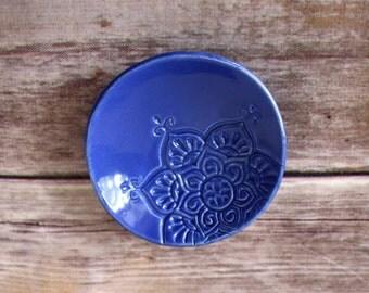 Handmade Trinket Dish - Indigo Jewelry Holder - Handmade Ceramic Dish - Boho Star Pattern - Made in Colorado - In Stock / Ready to Ship!