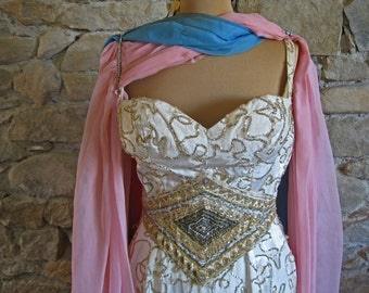 Vintage mans dress beaded silk gown with chiffon scarves and falsies 1950s French female impersonators dress