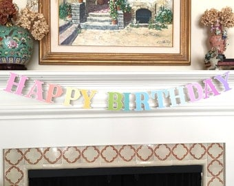 NEW Happy Birthday Pastel Rainbow Banner Bunting