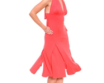 "Tango Dress, Tango Dresses with Slits, ""Ragged"" Tango Dress with Ruffle Finish, Custom Size and Custom Color"