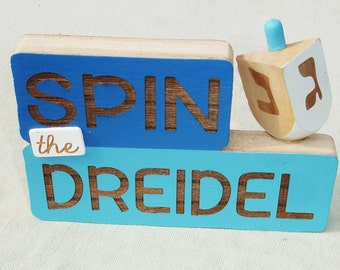 Wooden Spin the Dreidel Hanukkah Sign