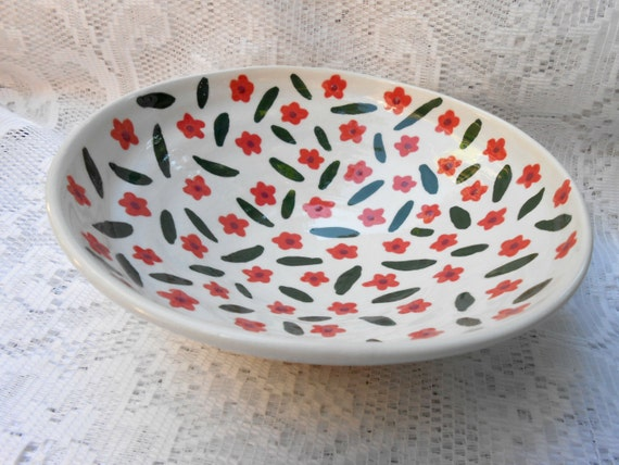 Wheel Thrown Hand Painted Ceramic Flower Bowl