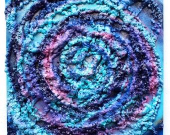 ORIGINAL Chris Riggs space sculpture wood dada fine pop art spray paint modern contemporary signed universe medium size painting