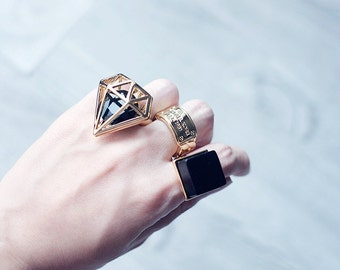 Gold 3D diamond cutout ring - statement ring - gold diamond ring - diamond cut out ring