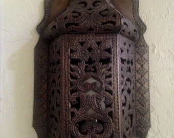 Large Gothic Morrocan Mediterranean wall sconce, candle holder
