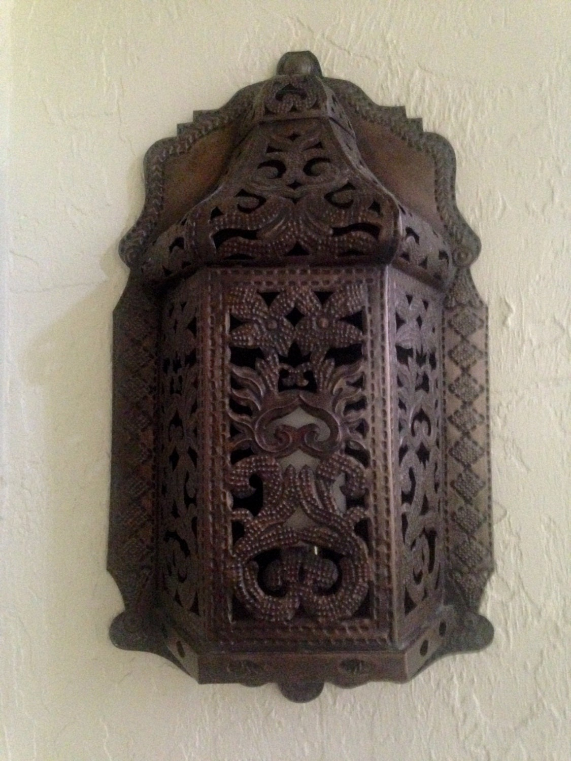 Large Gothic Morrocan Mediterranean wall sconce candle holder