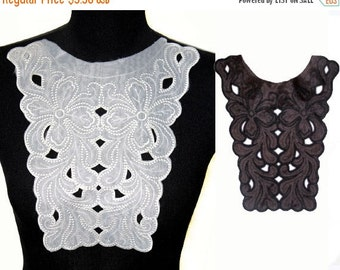 SALE Day Black White Embroidered Floral Collar for Shirt Blouse Dress