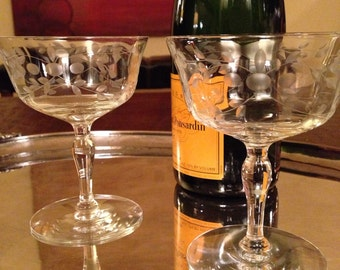 2 Vintage Champagne Coupe Glasses - Set of Two