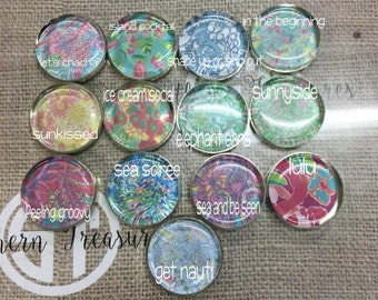 Lilly Pulitzer inspired Paper Weights with gold bottoms, 2.5 inch diamater