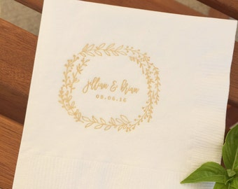 Bohemian Wreath Printed Napkins | Wedding or Personalized Home Gift | Darby Cards