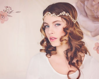 Custom Couture Wedding Leaf Crown, Flower Crown, Bohemian Bridal Headpiece,  Wedding Wreath, The Florence Couture Crystal Headpiece Halo#143