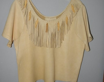 Hand Made Butter Soft Fringed Womens Deer Leather Pullover Top, One of a Kind, Indian Style, sz small