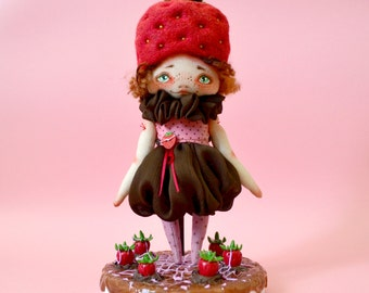 """Strawberries in chocolate -  ooak 9,5"""" art textile fantasy surreal doll room decor"""