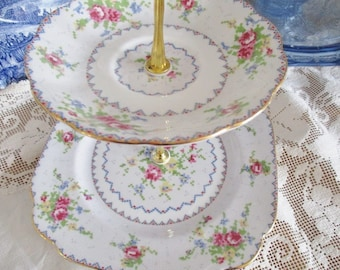 Vintage 2 tier cake stand by Royal Albert Petit Point, english china tea stand, English Garden Tea Shop china set, excellent condition