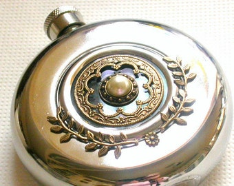 Round Hip Flask Window Stainless Steel - 5 oz - Women Victorian Flask - Vintage Style Accessories
