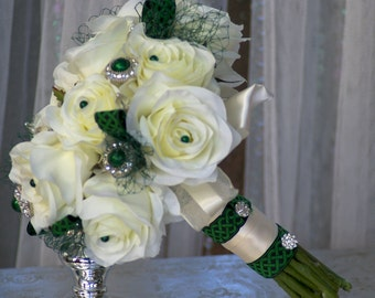 Ivory Silk Rose and Emerald Green Brooch Bridal St. Patricks Irish Bouquet