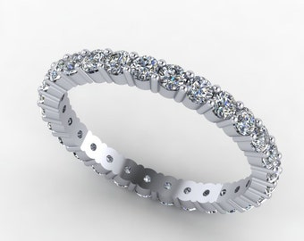 Diamond eternity wedding band in 14kt white gold,1.00ct diamonds, style 4WD