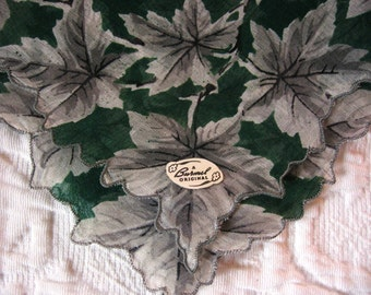 Vintage Burmel Label Handkerchief Cotton Print Grey Leaves Forest Green Background Women's Purse Accessory Pristine Unused Collectible Hanky