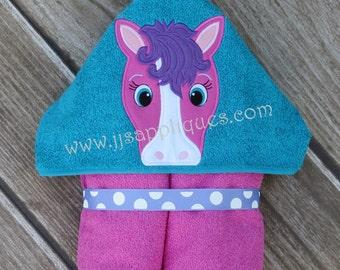 Pony Peeker Horse Peeker  Hooded Towel In the Hoop applique  digital design 4x4, 5x7, 6x10 hoops - Instant Download