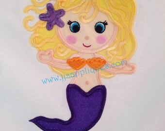 Instant Download - Mermaid Design - Ocean Designs Sea Life Design - Mermaid Embroidery Applique Design 4x4, 5x7, 6x10 hoop sizes