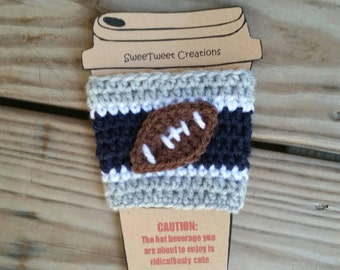 Crochet football team cozy, customizable cozies, wholesale cozies, cowboy football team, re-usable coffee cup cozies, Togo cup cozies