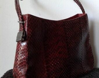 """Vintage burgundy snake skin handbag, leather shoulder bag,Made in Spain by """" BOL-PERDIX"""" , Retro bag"""