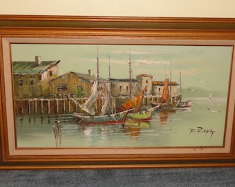 Signed P STIRRAT Nautical Seascape Harbor Boats Sailboat Dock Seagulls Large Oil On Canvas Wall Decor Home Decor Painting