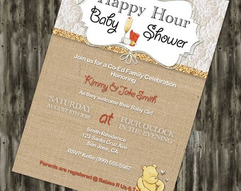 Happy Hour Baby Shower Winnie the Pooh Invite and Thank You Card