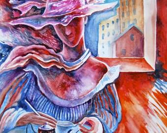 "original watercolor painting size 30x42 cm ""Inside"""