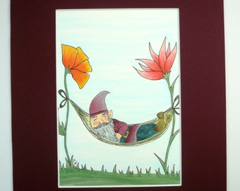 Gnome art, Original Pen and Ink drawing, Gnome napping with flowers. 8x10 matted original art.