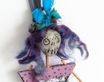 OOAK Handmade Art Doll Mixed Media Art Doll Skeleton Doll Wall Hanging Day of the Dead Doll