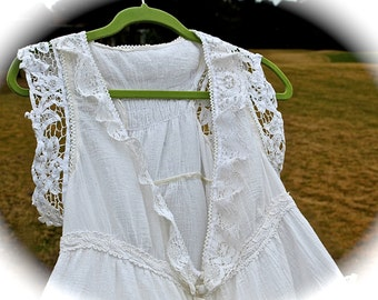 Romantic Sugar Lace Ruffled Tiered Vest Shabby Chic French Country Babydoll Beauty