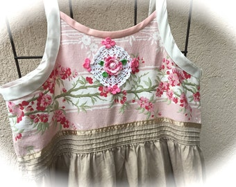 Izzy Roo Cherry Blossom Jumper/ Dress Prairie Sweetheart Cowgirl  Shabby Chic
