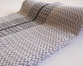 Diamod Pattern Turkish Towel Peshtemal towel in grey color with black stripe Cotton soft