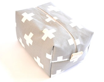 Modern Grey Plus Cosmetic Bag - Large Makeup Bag - Waterproof Makeup Bag - Gray Makeup Bag